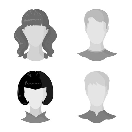 Vector design of character and profile logo. Collection of character and dummy stock vector illustration.