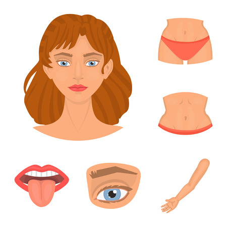Vector illustration of body and part symbol. Collection of body and anatomy vector icon for stock. Stock Vector - 124966474