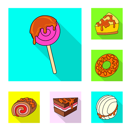 Isolated object of confectionery and culinary symbol. Collection of confectionery and colorful stock symbol for web.  イラスト・ベクター素材