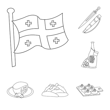 Vector illustration of traditions and national symbol. Collection of traditions and sightseeing stock symbol for web. Ilustrace