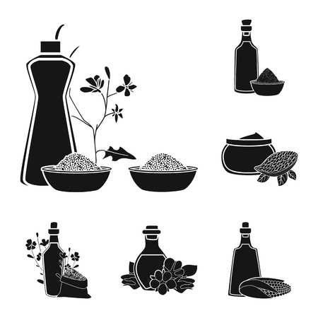 Vector design of oil and agriculture sign. Set of oil and glass vector icon for stock.