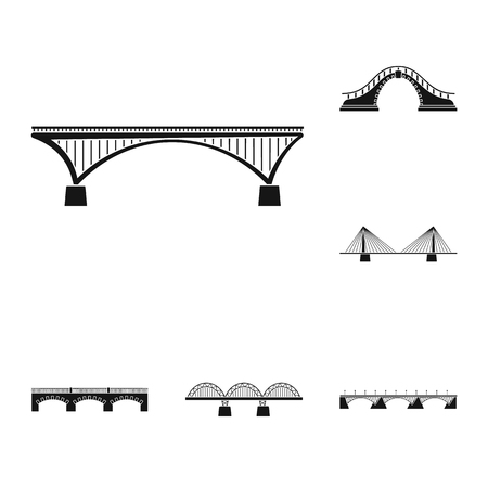 Isolated object of construct and side logo. Set of construct and bridge vector icon for stock. Çizim
