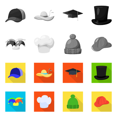 Vector illustration of clothing and cap symbol. Set of clothing and beret vector icon for stock.