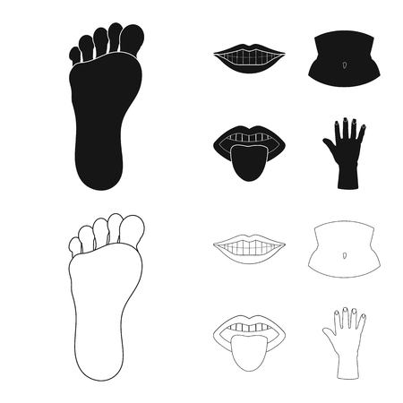 Isolated object of body and part symbol. Collection of body and anatomy stock symbol for web. Imagens - 124966504