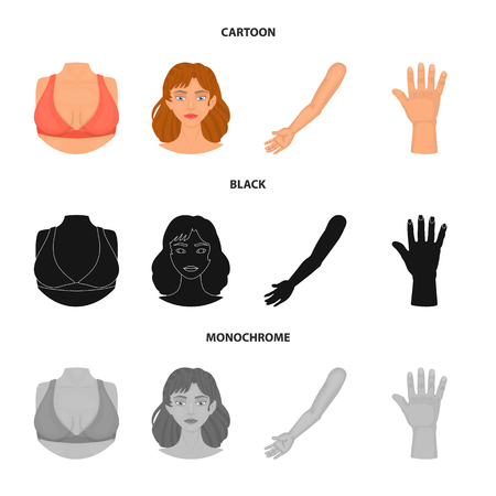 Vector illustration of body and part sign. Collection of body and anatomy stock symbol for web.
