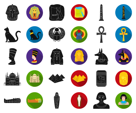 Ancient Egypt black,flat icons in set collection for design. The reign of Pharaoh vector symbol stock web illustration.