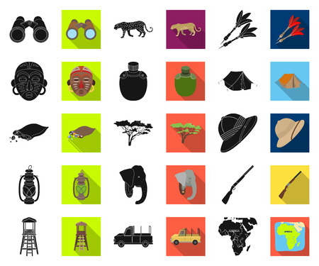 African Safari black,flat icons in set collection for design. Trophies and equipment for Safari vector symbol stock web illustration.