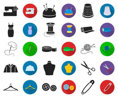 Atelier and sewing black,flat icons in set collection for design. Equipment and tools for sewing vector symbol stock web illustration.