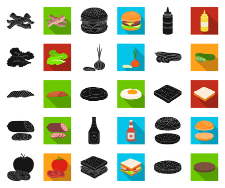 Burger and ingredients black,flat icons in set collection for design. Burger cooking vector symbol stock web illustration.