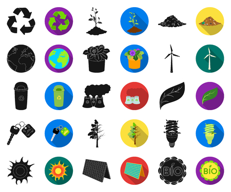 Bio and ecology black,flat icons in set collection for design. An ecologically pure product vector symbol stock web illustration.