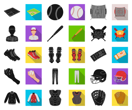 Baseball and attributes black,flat icons in set collection for design.Baseball player and equipment vector symbol stock web illustration. Illustration