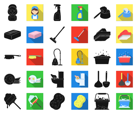 Cleaning and maid black,flat icons in set collection for design. Equipment for cleaning vector symbol stock web illustration. Stock Illustratie