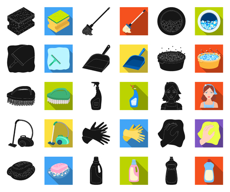 Cleaning and maid black,flat icons in set collection for design. Equipment for cleaning vector symbol stock web illustration.