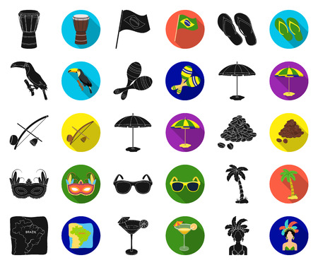 Country Brazil black,flat icons in set collection for design. Travel and attractions Brazil vector symbol stock web illustration.