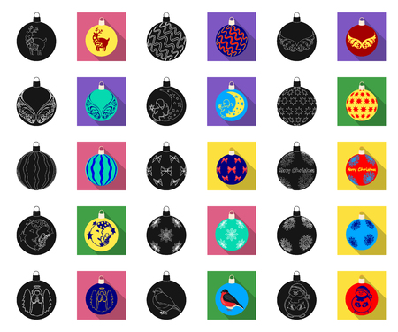 Christmas toys black,flat icons in set collection for design.New Year balls vector symbol stock illustration.
