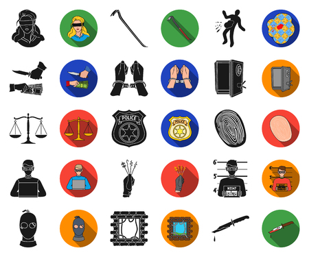 Crime and Punishment black,flat icons in set collection for design.Criminal vector symbol stock web illustration.