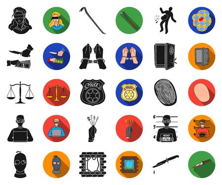 Crimen y castigo negro, iconos planos de colección set de diseño.Ilustración de web de stock de símbolo de vector criminal.