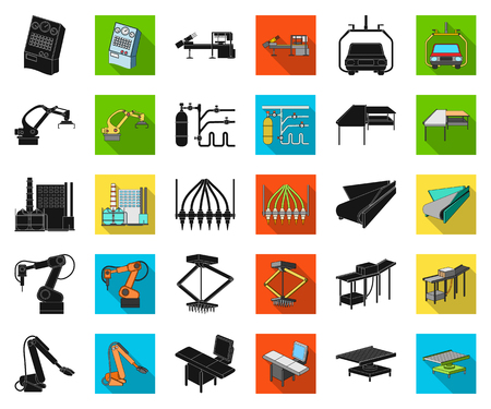 Equipment and machine black,flat icons in set collection for design. Technical progress of the factory vector symbol stock illustration. Ilustração