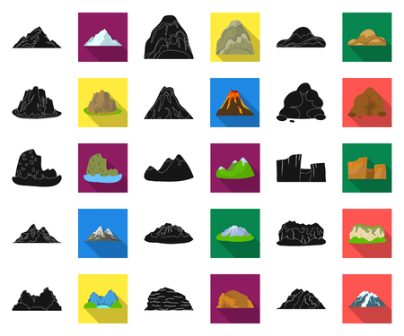 Different mountains black,flat icons in set collection for design.Mountains and landscape vector symbol stock web illustration.