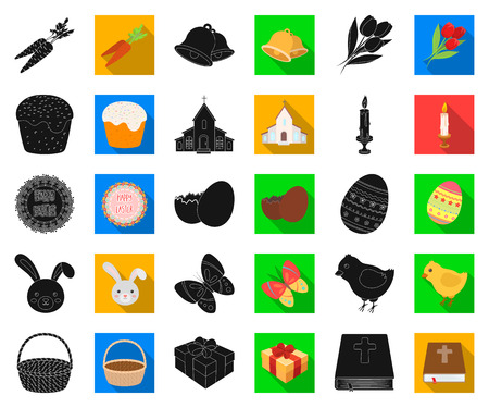 Easter is a Christian holiday black,flat icons in set collection for design. Easter attributes vector symbol stock web illustration.