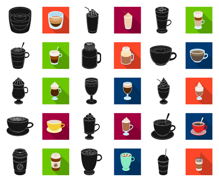 Different kinds of coffee black,flat icons in set collection for design. Coffee drink vector symbol stock web illustration.