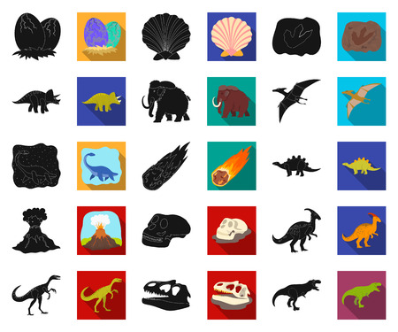 Different dinosaurs black,flat icons in set collection for design. Prehistoric animal vector symbol stock web illustration. Illustration