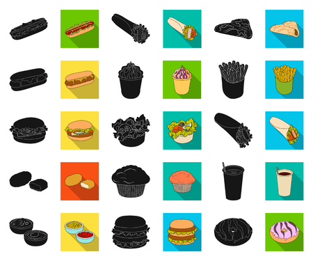 Fast food black,flat icons in set collection for design.Food from semi-finished products vector symbol stock web illustration.