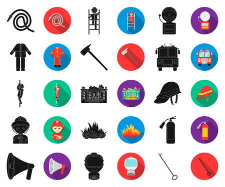 Fire Department black,flat icons in set collection for design. Firefighters and equipment vector symbol stock web illustration. Иллюстрация