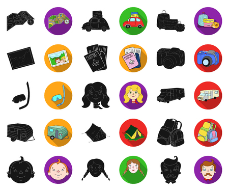Family holiday black,flat icons in set collection for design. Recreation and equipment. vector symbol stock web illustration.