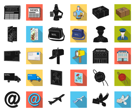Mail and postman black,flat icons in set collection for design. Mail and equipment vector symbol stock web illustration.