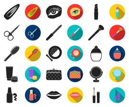 Trucco e cosmetici icone nere e piatte nella raccolta di set per il design. Trucco e attrezzature simbolo d'archivio web di vettore.