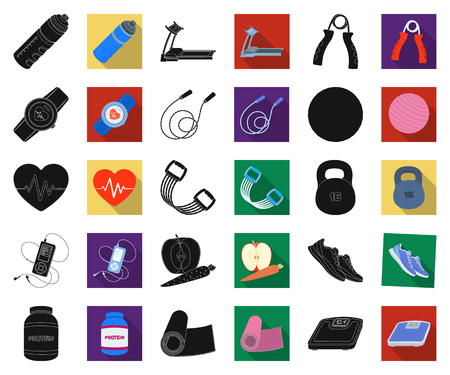 Gym and training black,flat icons in set collection for design. Gym and equipment vector symbol stock illustration.