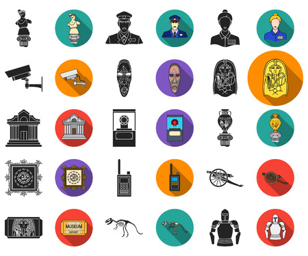 Museum and gallery black,flat icons in set collection for design. Storage and exhibition of showpiece vector symbol stock web illustration.