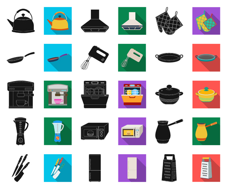 Kitchen equipment black,flat icons in set collection for design. Kitchen and accessories vector symbol stock web illustration. Illustration