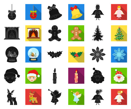 Christmas attributes and accessories black,flat icons in set collection for design. Merry Christmas vector symbol stock web illustration.