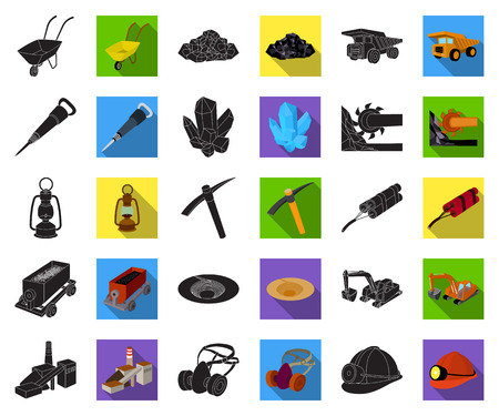 Mining industry black,flat icons in set collection for design. Equipment and tools vector symbol stock web illustration.