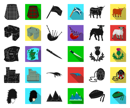 Country Scotland black,flat icons in set collection for design. Sightseeing, culture and tradition vector symbol stock web illustration. Illusztráció