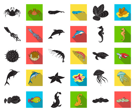 A variety of marine animals black,flat icons in set collection for design. Fish and shellfish vector symbol stock web illustration.