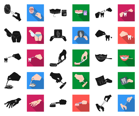 Manipulation by hands black,flat icons in set collection for design. Hand movement in medicine vector symbol stock illustration. Ilustração