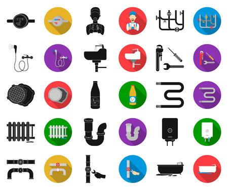 Plumbing, fitting black,flat icons in set collection for design. Equipment and tools vector symbol stock web illustration.