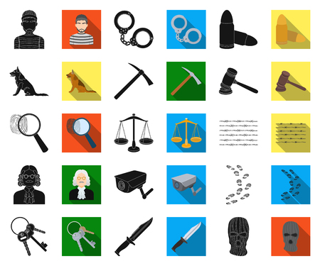 Prison and the criminal black,flat icons in set collection for design.Prison and Attributes vector symbol stock illustration.  イラスト・ベクター素材