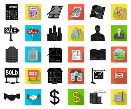Realtor, agency black,flat icons in set collection for design. Buying and selling real estate vector symbol stock web illustration.