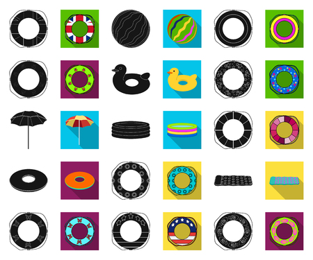 Multicolored swimming circle black,flat icons in set collection for design. Different lifebuoys vector symbol stock web illustration. Vectores