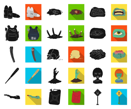 Zombies and Attributes black,flat icons in set collection for design. Dead man vector symbol stock web illustration. Illustration