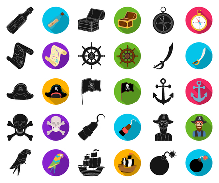 Pirate, sea robber black,flat icons in set collection for design. Treasures, attributes vector symbol stock web illustration. Illustration