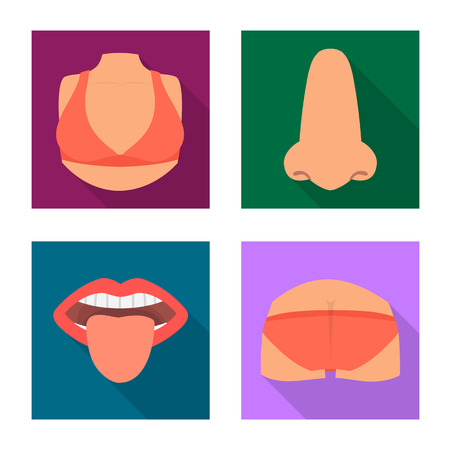 Isolated object of body and part icon. Collection of body and anatomy stock symbol for web. Ilustração