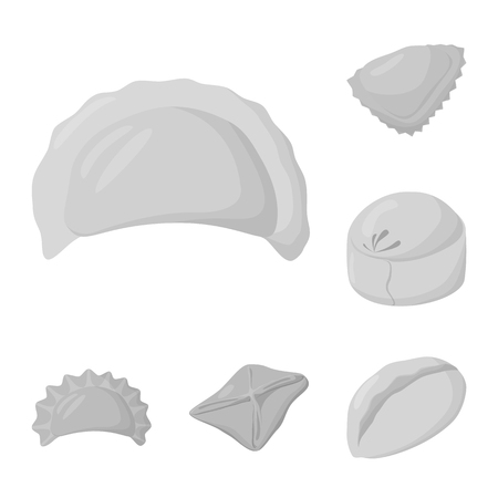 Vector illustration of dumplings and stuffed symbol. Collection of dumplings and dish vector icon for stock. Ilustrace