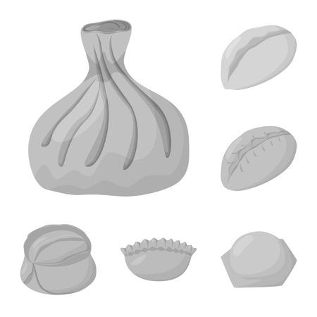 Vector illustration of dumplings and stuffed icon. Collection of dumplings and dish stock vector illustration.
