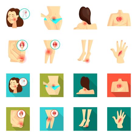 Vector illustration of hospital and rendering sign. Collection of hospital and help stock symbol for web. Ilustração