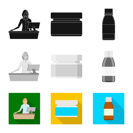 Vector illustration of retail and healthcare symbol. Set of retail and wellness vector icon for stock. Banque d'images - 124933894